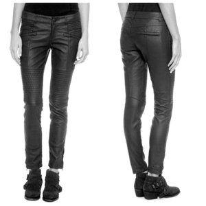 Free People Faux Leather Skinny Moto Zipper Pants